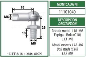 Montcada 11101040 - ESPIGA-BOLA(CABEZA 10)L13 M8