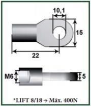 Montcada 11101050 - ROTULA METAL L18 M6-ESPIGA/BOLA M8