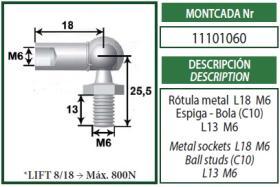 Montcada 11101060 - ANCLAJE OJO METAL 10MM L22 M6