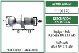 Montcada 11101170 - ANCLAJE METAL OJO G10MM 8MM L22 M8