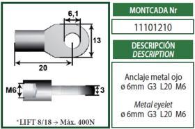 Montcada 11101210 - ESPIGA-BOLA(CABEZA 13)L16 M8