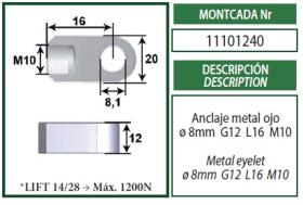 Montcada 11101240 - ANCLAJE BIFURCADO 6MM L24 M6