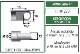 Montcada 11101270 - ANCLAJE BIFURCADO 10MM L40 M10