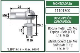 Montcada 11101300 - ANCLAJE OJO METAL 10MM L18 C.M10