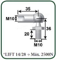 Montcada 11101310 - ROTULA METAL L25 M6-ESPIGA/BOLA M10