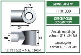 Montcada 11101330 - ROTULA METAL M10-ESPIGA/BOLA M10
