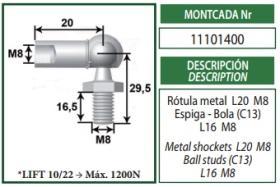 Montcada 11101400 - ROTULA METAL M8-ESPIGA/BOLA M8 C.10