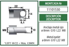 Montcada 11101530 - ROTULA METAL(CABEZA 16)L35 M10