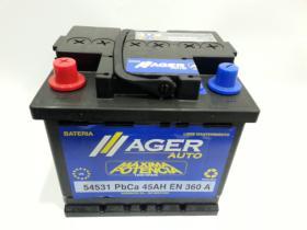 Baterías Ager 54531 - Bateria 45AH/360A  +  DER, 207x175x190mm